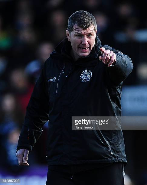 Exeter Chiefs Head Coach Rob Baxter during the Aviva Premiership match between Exeter Chiefs and Bath Rugby at Sandy Park on February 28 2016 in...