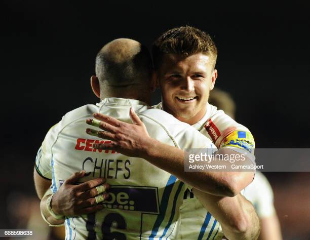 Exeter Chiefs' Henry Slade congratulates Luke CowanDickie after the Aviva Premiership match between Harlequins and Exeter Chiefs at Twickenham Stoop...