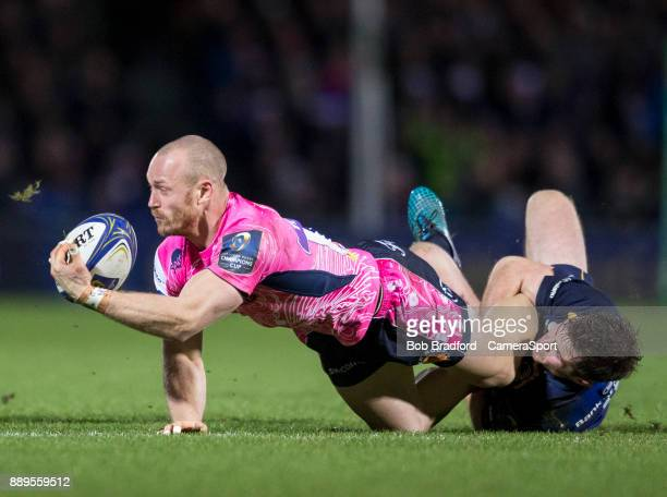 Exeter Chiefs' James Short in action during todays match during the European Rugby Champions Cup match between Exeter Chiefs and Leinster Rugby at...