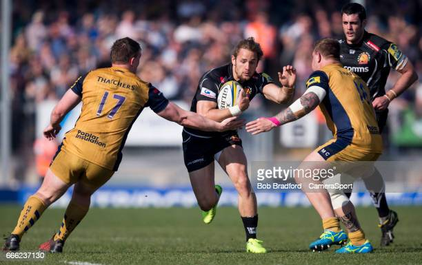 Exeter Chiefs' Michele Campagnaro' in action during todays match during the Aviva Premiership match between Exeter Chiefs and Bristol Rugby at Sandy...