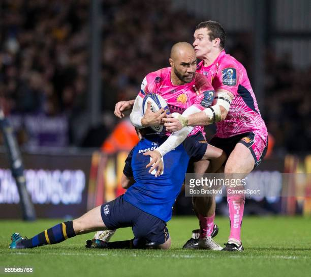 Exeter Chiefs' Olly Woodburn in action during todays match during the European Rugby Champions Cup match between Exeter Chiefs and Leinster Rugby at...