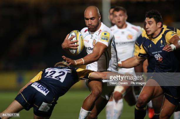 Exeter Chiefs Olly Woodburn is tackled by Worcester Warriors Sam Olver during the Aviva Premiership match at Sixways Stadium Worcester