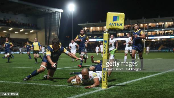 Exeter Chiefs Olly Woodburn scores only for it to be later disallowed during the Aviva Premiership match at Sixways Stadium Worcester
