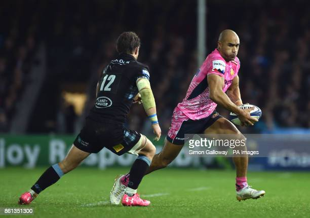 Exeter Chiefs Olly Woodburn tries to get past Glasgow Warriors Finn Russell during the European Champions Cup pool three match at Sandy Park Exeter
