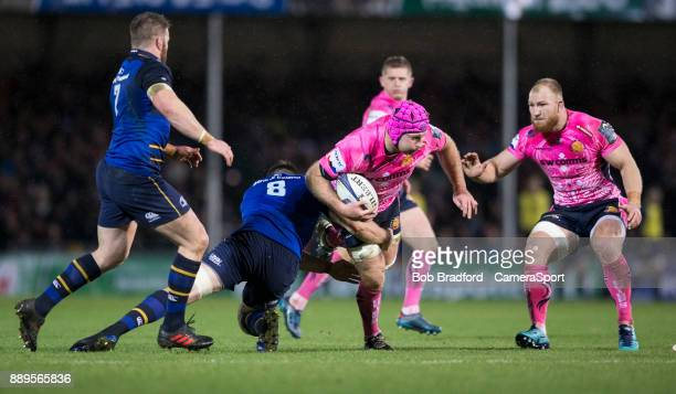 Exeter Chiefs' Thomas Waldrom is tackled by Leinster's Jack Conan during the European Rugby Champions Cup match between Exeter Chiefs and Leinster...