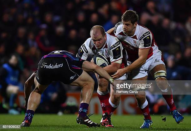 Exeter United Kingdom 15 January 2017 Callum Black left and Chris Henry of Ulster in action against Luke CowanDickie of Exeter Chiefsduring the...