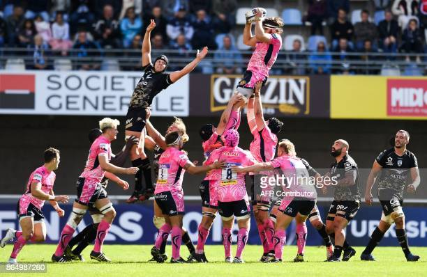 TOPSHOT Exeter's lock Don Armand grabs the ball in a line out during the European Champions Cup rugby union match between Montpellier and Exeter...