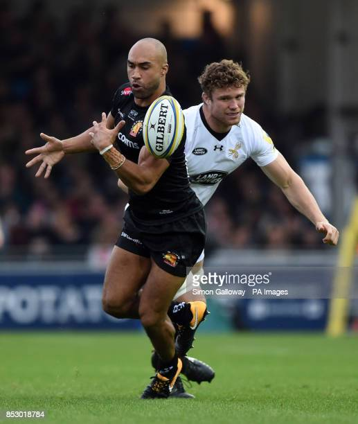 Exeter's Olly Woodburn and Wasps' Will Rowlands during the Aviva Premiership match at Sandy Park Exeter