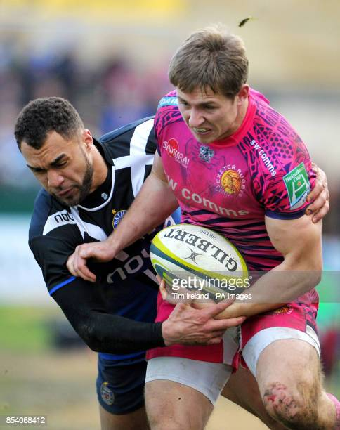 Exeter's Sam Hill is tackled by Bath's Olly Woodburn during the LV=Cup at the Recreation Ground Bath