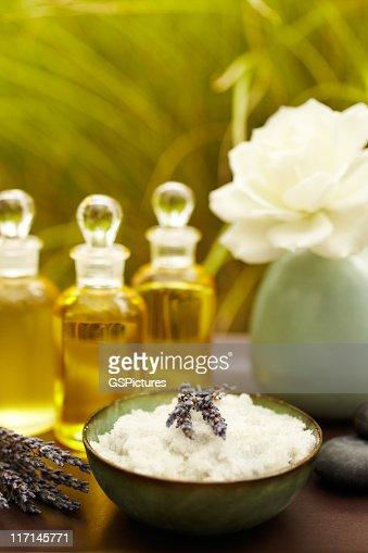 Exfoliation salt scrub at spa with lavender : Stock Photo