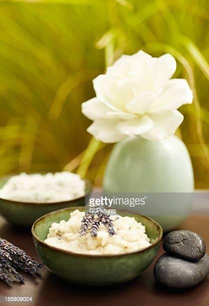 Exfoliation salt scrub at spa with lavender