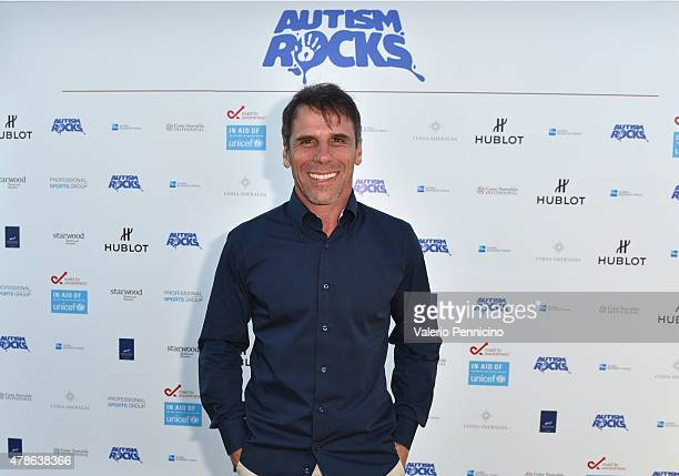 ExFootballer Gianfranco Zola arrives at the Welcome Dinner presented by Autism Rocks prior to The Costa Smeralda Invitational Golf Tournament at...