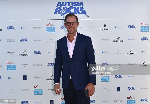 ExFootballer Ronald De Boer arrives at the Welcome Dinner presented by Autism Rocks prior to The Costa Smeralda Invitational Golf Tournament at...