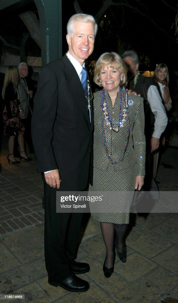 Ex-Governor of California <a gi-track='captionPersonalityLinkClicked' href=/galleries/search?phrase=Gray+Davis&family=editorial&specificpeople=200688 ng-click='$event.stopPropagation()'>Gray Davis</a> and wife during 2004 Mayors Mardi Gras and 9th Annual Getty House Foundations City of Angels Awards Ceremony at The Getty House in Los Angeles, California, United States.