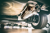 Exhaust pipe and technik - view under the car