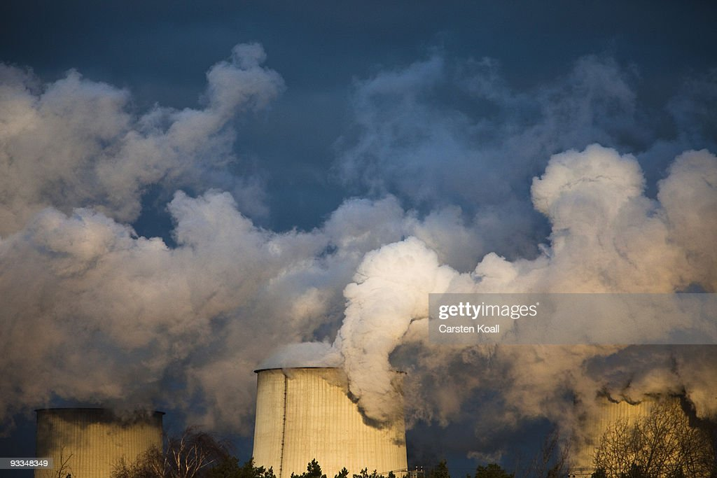 Exhaust plumes from cooling towers are seen at the Jaenschwalde lignite coal-fired power station, which is owned by Vatenfall, on November 24, 2009 in Janschwalde, Germany. The CO2 emission will be one top of the agenda and will be discussed at the summit in December in Copenhagen.