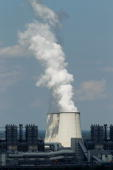 Exhaust plumes from cooling towers at the Jaenschwalde lignite coalfired power station which is owned by Vattenfall August 10 2010 at Jaenschwalde...