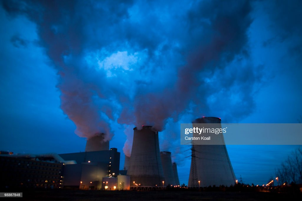 Exhaust plumes from cooling towers at the Jaenschwalde lignite coal-fired power station, which is owned by Vatenfall, on November 24, 2009 in Janschwalde, Germany. The CO2 emission will be one top of the agenda and will be discussed at the summit in December in Copenhagen.