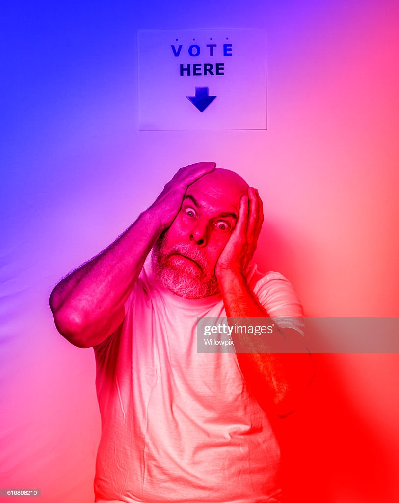 Exhausted Fed Up Angry USA Independent Voter Senior Man : Stock Photo