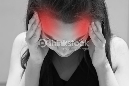 exhausted woman with headache, migraine, stress, hangover : Stock Photo