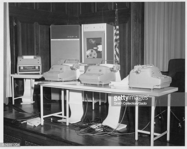 Exhibit of PDP4 Digital Equipment Corporation machines in National Archives auditorium College Park Maryland 1964