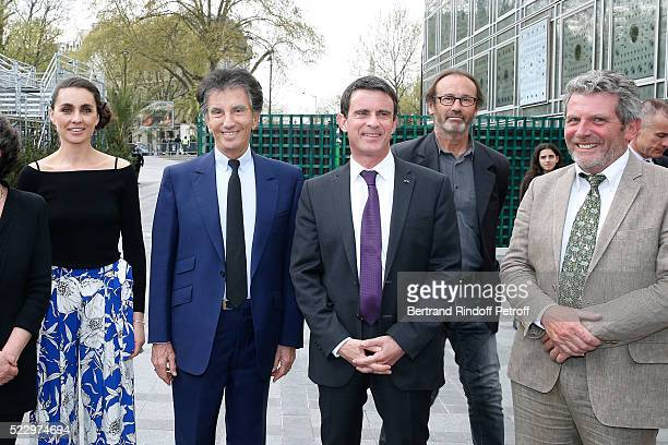 Exhibition Curator Agnes Carayon President of the 'Institut du Monde Arabe' Jack Lang French Prime Minister Manuel Valls Creator of the 'Anamorphose'...