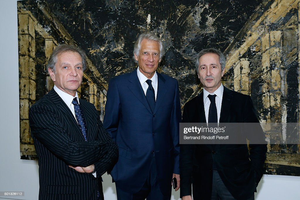 Exhibition curator Jean-Michel Bouhours, Politician <a gi-track='captionPersonalityLinkClicked' href=/galleries/search?phrase=Dominique+de+Villepin&family=editorial&specificpeople=548074 ng-click='$event.stopPropagation()'>Dominique de Villepin</a> and Director of the Centre Pompidou Museum of Modern Art Bernard Blistene attend the Anselm Kiefer's Exhibition : Press Preview, held at Centre Pompidou on December 14, 2015 in Paris, France.