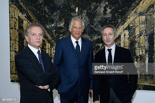 Exhibition curator JeanMichel Bouhours Politician Dominique de Villepin and Director of the Centre Pompidou Museum of Modern Art Bernard Blistene...