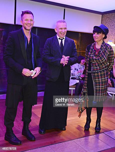 Exhibition curator ThierryMaxime Loriot Jean Paul Gaultier and Nathalie Bondil director of the Montreal Museum of Fine Arts attend an exclusive...