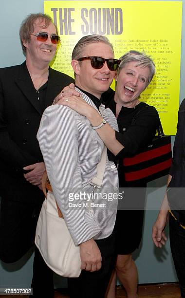 Exhibition Curators Russell Reader Nicky Weller and actor Martin Freeman attend the private view of The Jam About the Young Idea at Somerset House in...
