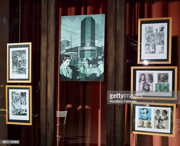 Exhibition of ' Le Stagioni Del Commissario Ricciardi Il Senso Del Dolore' drawing boards during the presentation of Graphic Novel based on...