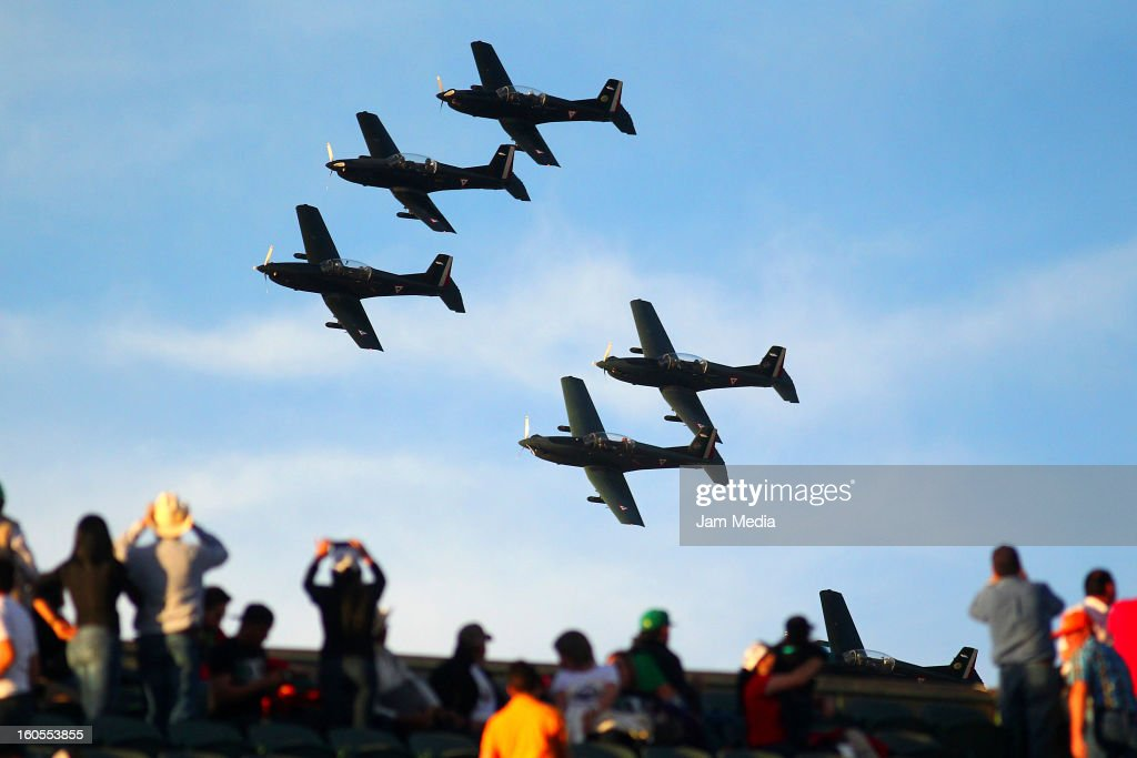 Exhibition of the Mexican Air Force during the Caribbean Series Baseball 2013 in Sonora Stadium on february 1, 2013 in Hermosillo, Mexico.