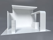 Exhibition stand plain white used for mock-ups and branding and Corporate identity.3d illustrationExhibition stand plain white used for mock-ups and branding and Corporate identity.3d illustration