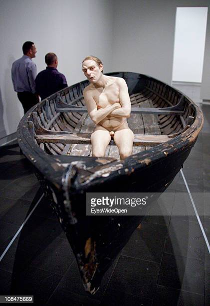Exhibition with human body sculptures of the australian artist Ron Mueck in the Art Gallery in Christchurch New Zealand on December 13 South Island