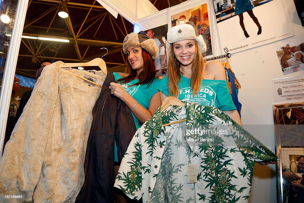 Exhibitors display various products at the Spannabis 2013 convention on hemp and marijuana products at the Feria de Cornella on February 16, 2013 in Barcelona, Spain.