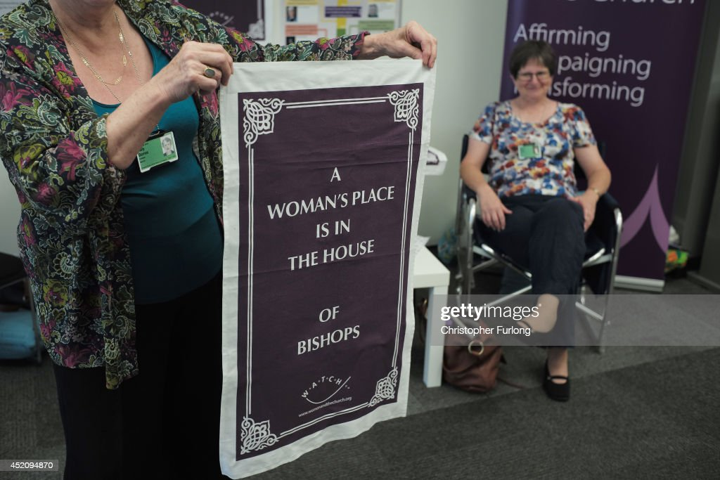 Exhibitors, in support of women bishops, sell tea towels to delegates during the annual Church of England General Synod at York University on July 13, 2014 in York, England. Members and officers of the Church of England's General Synod are preparing for a vote on whether to introduce women bishops. The Synod will vote tomorrow during it's meeting at York University and if successful women bishops could be announced later this year.