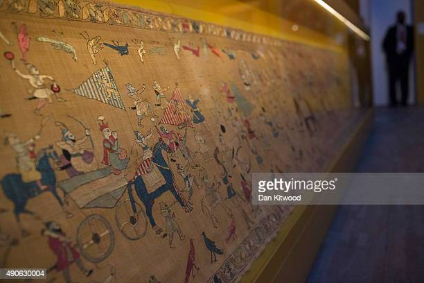 Exhibits during the press preview of 'The Fabric of India' exhibition at the Victoria and Albert Museum on September 30 2015 in London England The...