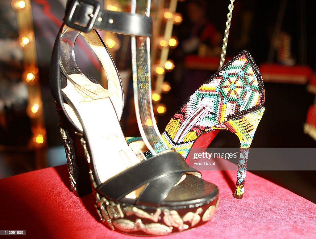 Exhibits on display during a preview of an exhibition celebrating 20 years of designs by French shoe designer Christian Louboutin at the Design Museum on April 30, 2012 in London, England.