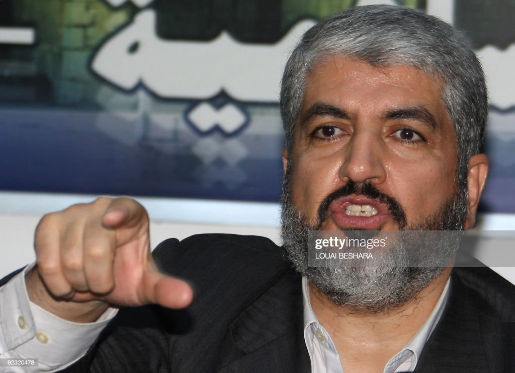 Exiled Palestinian Hamas chief Khaled Meshaal speaks during a meeting with Damascus-based Palestinian factions in the Syrian capital on October 24, 2009. Palestinian divisions deepened as the Hamas rulers of Gaza rejected president Mahmud Abbas' call for January elections, accusing him of usurping power.