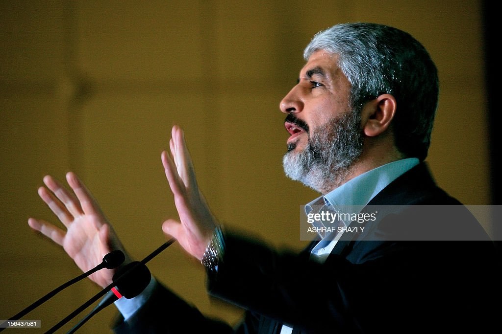 Exiled political chief of the Palestinian Islamist movement Hamas, Khaled Meshaal, attends a major conference of Sudanese Islamists in Khartoum on November 15, 2012. His visit to Sudan came as warplanes from the Jewish state pounded Gaza for a second, in Israel's toughest assault on the Palestinian territory in four years. AFP PHOTO/ASHRAF SHAZLY