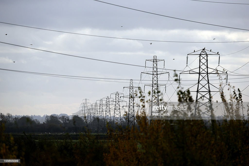 Existing pylons approach the Mendip Area of Outstanding National Beauty close to the village of Loxton on November 6, 2012 in Somerset, England. The National Grid released today its draft Hinkley C to Avonmouth connection route which would involve replacing existing pylons with fewer but larger ones and will also use underground cables in the Mendip Area of Outstanding National Beauty. However campaigners how have been fighting against the new power line, have claimed the proposals will still have a detrimental effect on the landscape.