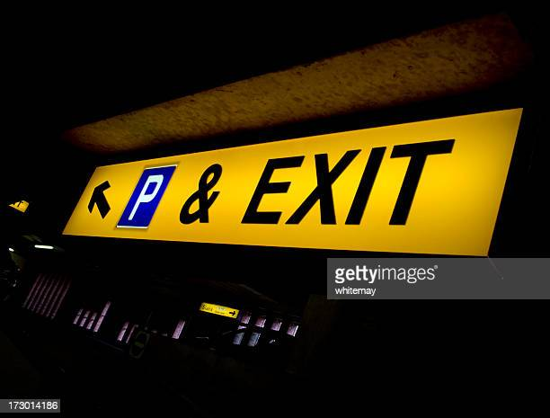Exit and parking sign