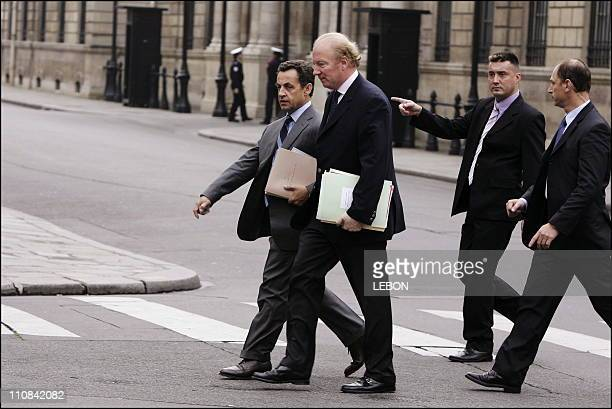 Exit Of The Council Of Ministers At Elysee Palace In Paris France On May 10 2006 Nicolas Sarkozy and Brice Hortefeux