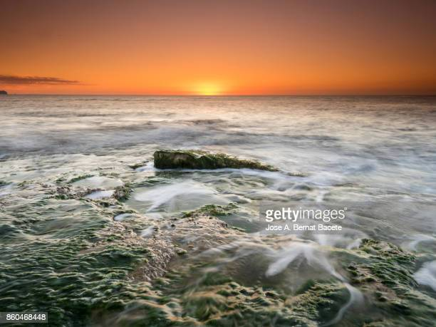 Exit of the Sun of orange color, on the surface of the sea, in a zone of coast with rocks and waves in movement. Alicante , Valencian Community, Spain.