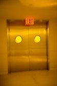 Exit Sign Above Metal Doors