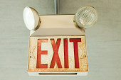 Exit sign in car park