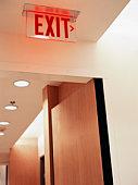 Exit sign in hallway