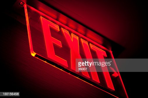 exit sign stock fotos und bilder getty images. Black Bedroom Furniture Sets. Home Design Ideas