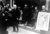 Exiting President Hindenburg walks out of the voting poll after having cast his vote during the presidential election in April 1932 in Berlin Germany