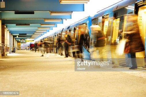 Exiting subway train